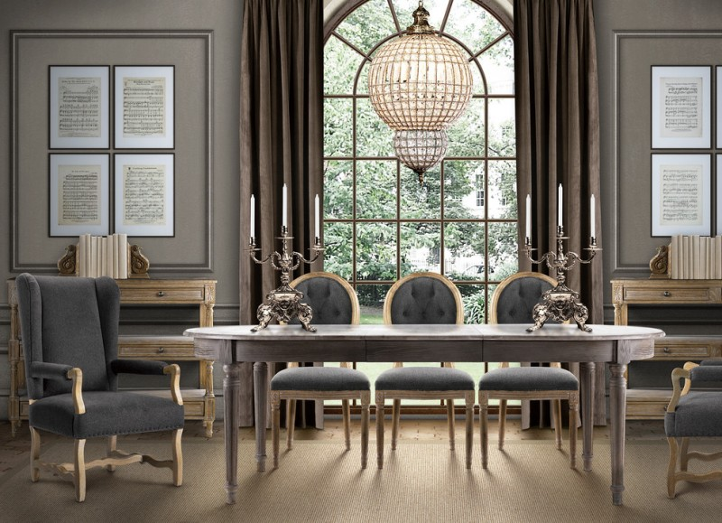 eclectic & formal dining room French style dining set in grey a pair of armchairs luxurious pendant lamp bronze candle holders