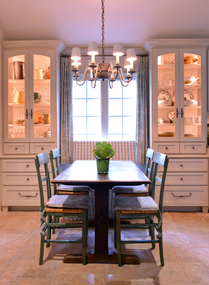 farmhouse dining room white built in corner cabinets with warm lighted inner space silver draperies classic pendant lamp with mini light cups grey finished dining chairs wood top dining table