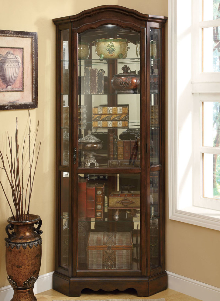 freestanding corner cabinet with three sided glass door and in dark wood finishing