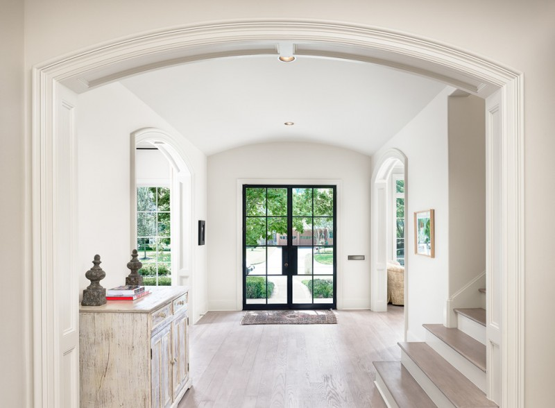 front doors with glass curved ceiling curved entryway distressed cabinets entry rug foyer glass double door & Fascinating Front Doors with Glass to Maximize the Beauty of Your ...