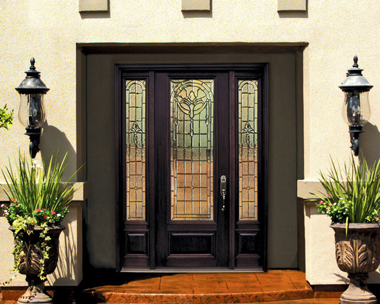 front doors with glass prehung sidelights door fiberglass palacion 1 panel three quarter lite glass outdoor wall lanterns plants brown tile