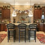 kitchen wall decor ideas crafts wall decor colorful rug built in microwave and oven chandeliers granite countertop white rustic brick wall