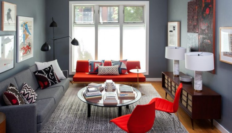 living room color schemes red and gray color scheme serge mouille three arm rotating floor lamp privacy windows minimalist furniture glass circle table rug