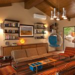 living room with orange patterned chairs, warm brown sofa, wooden long coffee table, nesting side table, glass hanging bulb chair with blue cushion, wall shelves