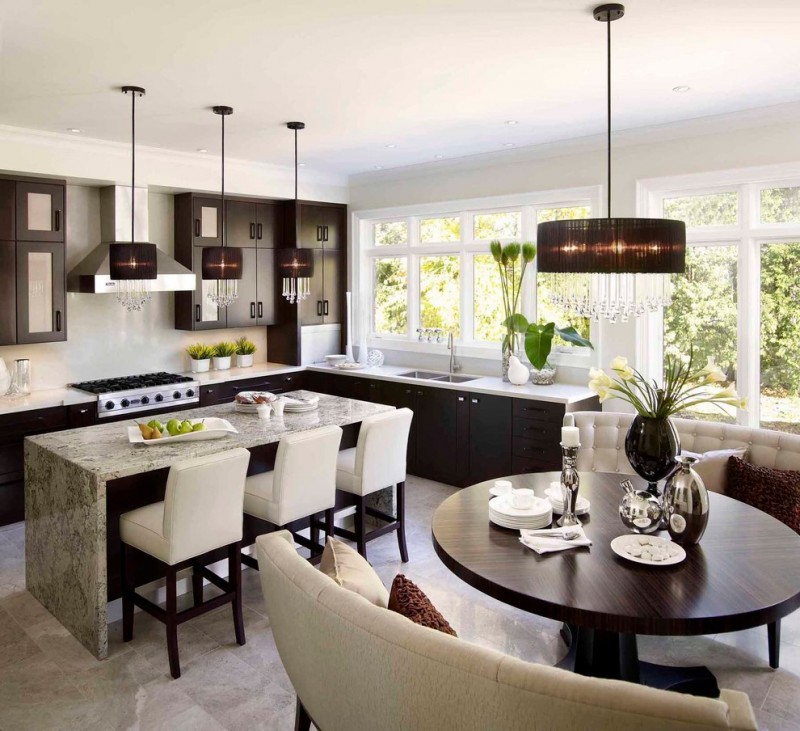 Mid Sized Contemporary L Shaped Eat In Kitchen With Flat Panel Cabinets,  Dark Wood Cabinets