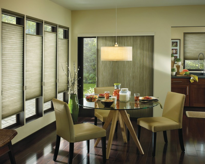 minimalist dining room design with beige walls and blinds and dark hardwood floors kitchen set table and chairs wooden cabinet