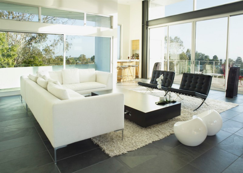 modern concept living room modern white sofas with white throw pillows high end coffee table in black modern black chairs with leather case mini white side chairs white area rug
