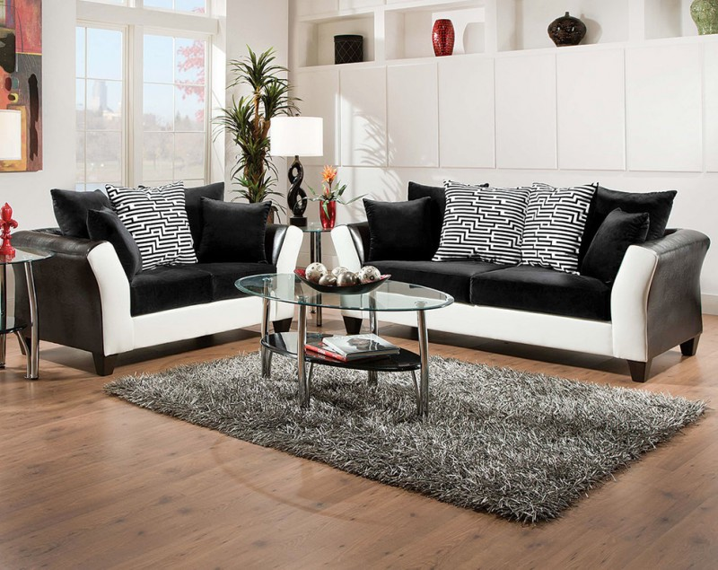 Be simple yet modern with these black and white living for Black and grey sofa
