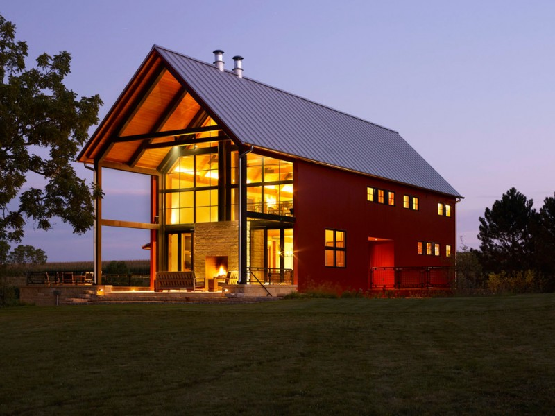 Pole Barn House Plans Big Metal Roof Red Wall Small Windows Grass Large Glass Door