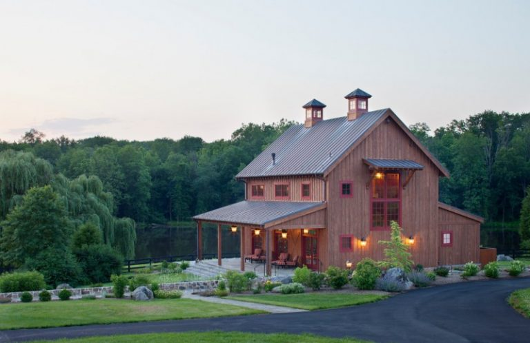 Pole Barn House Plans Grass Lawn Metal Roof Outdoor Lighting Red Trim Standing Seam Street