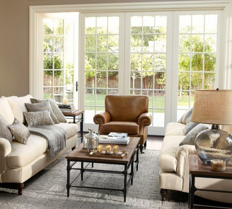 Pottery Barn Room Ideas Part - 37: Pottery Barn Living Room Brooklyn Leather Armchair Carlisle Upholstered  Grand Sofa Parquet Coffee Table Maddie Beaded
