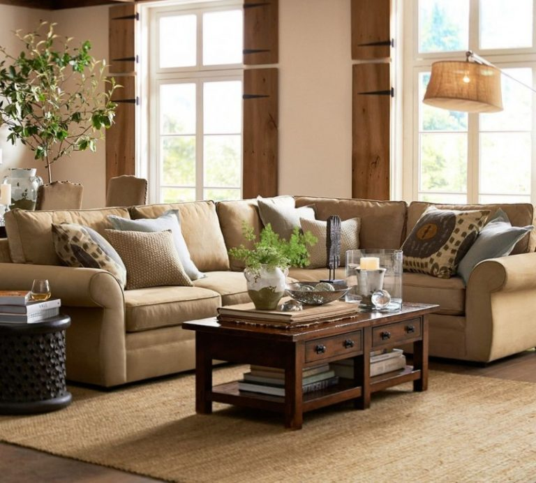 Pottery Barn Room Ideas Part - 21: Pottery Barn Living Room Chelsea Sectional Floor Task Lamp Brenchwright  Coffee Table With Rustic Mahogany Stain