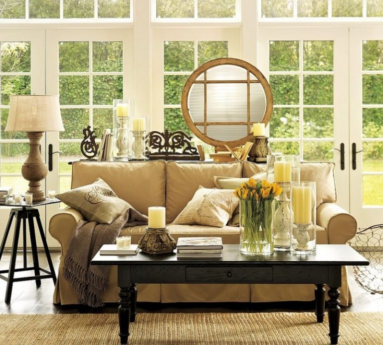 Pottery Barn Living Room Tivoli Coffee Table Camille Mirror Sofa With  Brushed Canvas Potters Wheel Accent