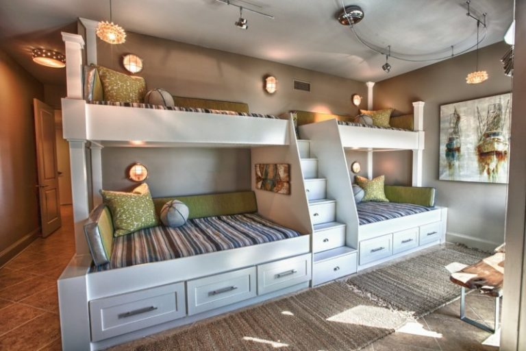 Queen Size Bunk Beds Circle Wall Sconces Industrial Lighting Built In  Stairs With Storages Wall Decorations