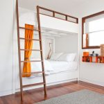 queen size bunk beds offi douplane dvd shelf grey rug ladder square window with shade white bedding orange curtain