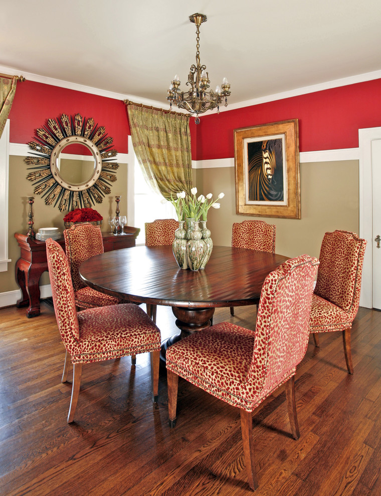 Red Patterned French Style Dining Chairs Circular Wood Dining Table With  Darker Finishing Dark Toned Wood