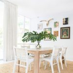 Shabby Chic Dining Room Woven Leather French Dining Chairs In White Long Wood Dining Table White Walls Juted Area Rug