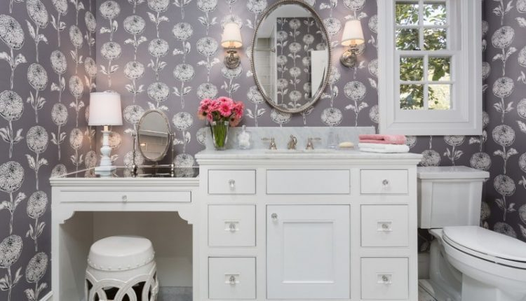 small classic kids bathroom design with an under mount sink, beaded inset cabinets, white cabinets, marble countertops, multicolored walls and mosaic tile floors