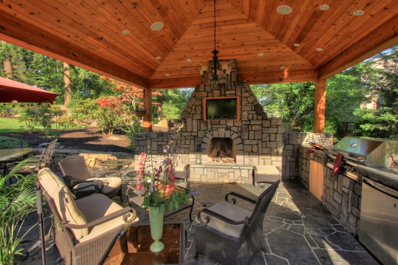 Covered Patio With Fireplace A Family Place To Relax Decohoms