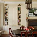 Traditional Dining Room Recessed Corner Cabinets Dining Room With Bookshelves Traditional Fireplace Black And Round Top Dining Table Red Dining Chairs Corner Chair In White