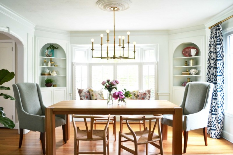 Transitional Dining Room Built In Corner Cabinets With Curve Tops Two  Sloping Arm Chairs Two Wishbone