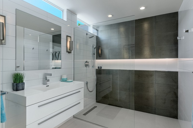 walk in shower designs black and white bathroom modern bathroom vanity with undermount sink and drawers wall sconces glass door
