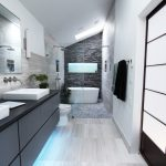 Walk In Shower Designs Grey And White Bathroom Stone Wall White Tub Vaulting Ceiling Dak Grey Vanity Sinks Mirrors Towel Holder