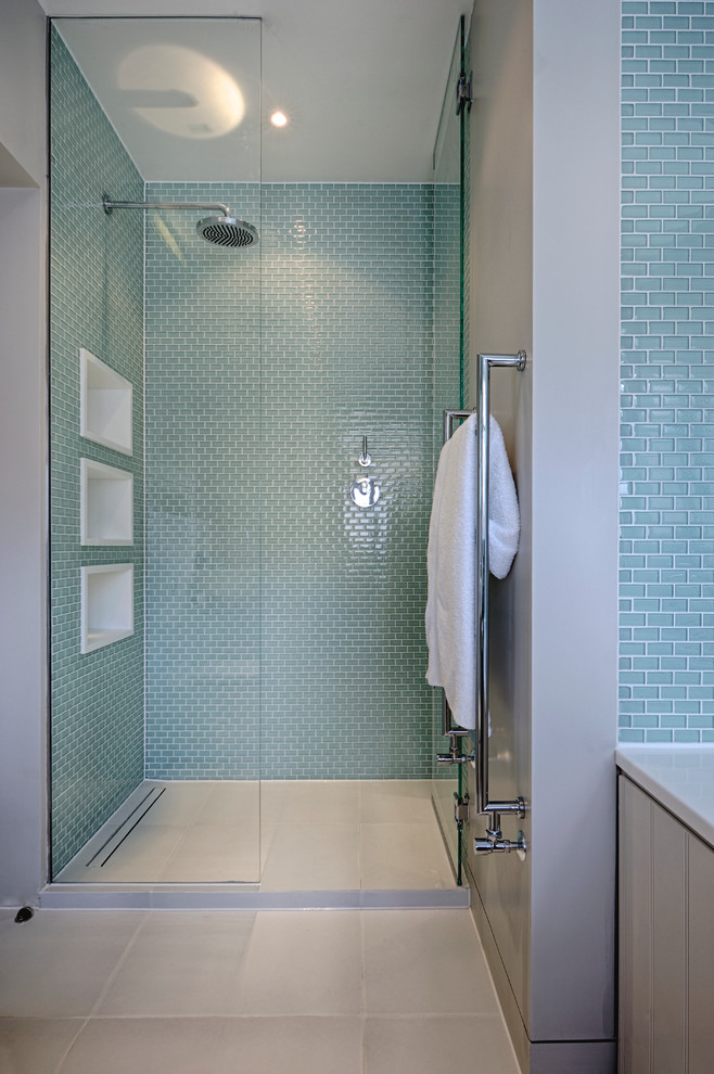 walk in shower designs towel rack blue sea bathroom wall tiles frameless glass doors three white built in shelves