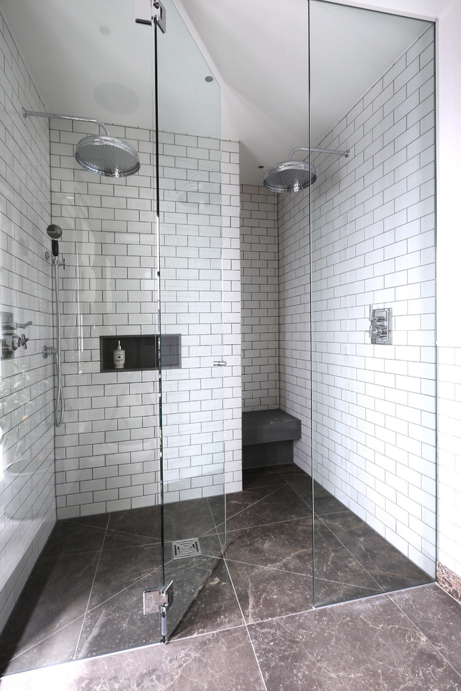 Walk In Shower Designs Part - 34: Walk In Shower Designs Two Head Showers Frameless Shower Glass Doors Matte  White Brick Wall Design