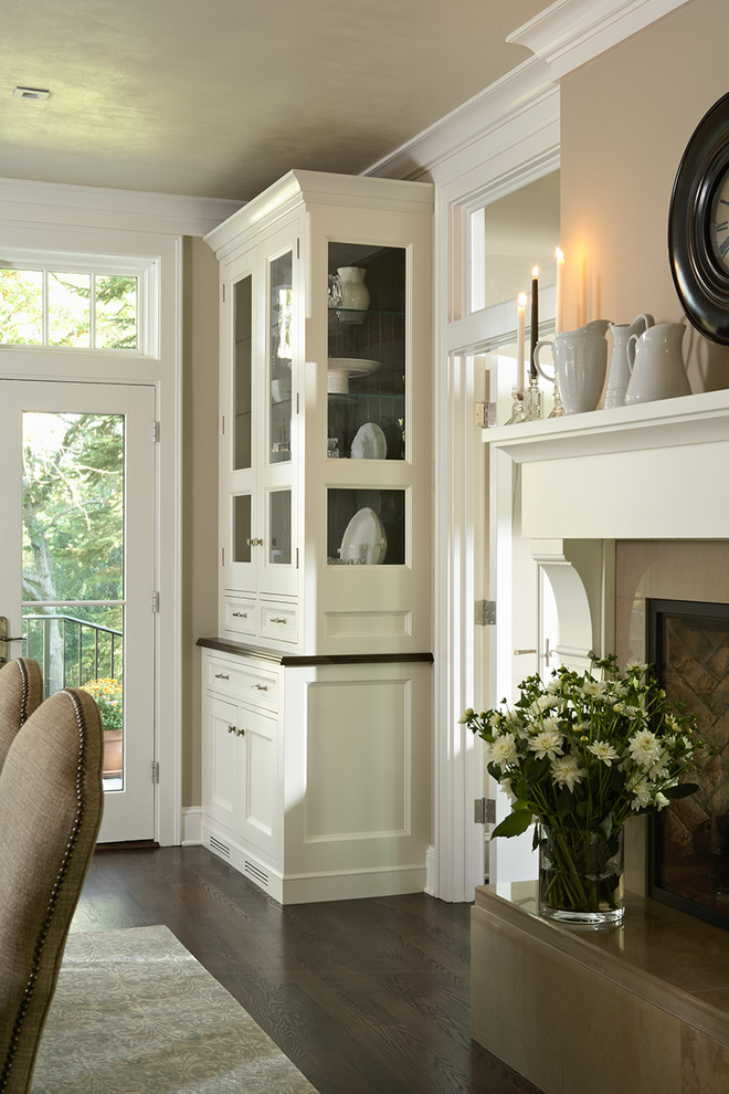 China cabinet with fireplace fireplaces for Dining room fireplace ideas