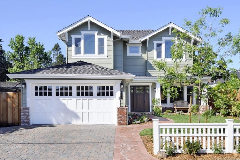 White Garage Door Glass Garage Window Trellis Woden Siding Grey Roof Brick  Paving Wall Lamps Craftsman