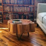 Large Tree Trunk Stump Table With Black Steel Hairpin Legs