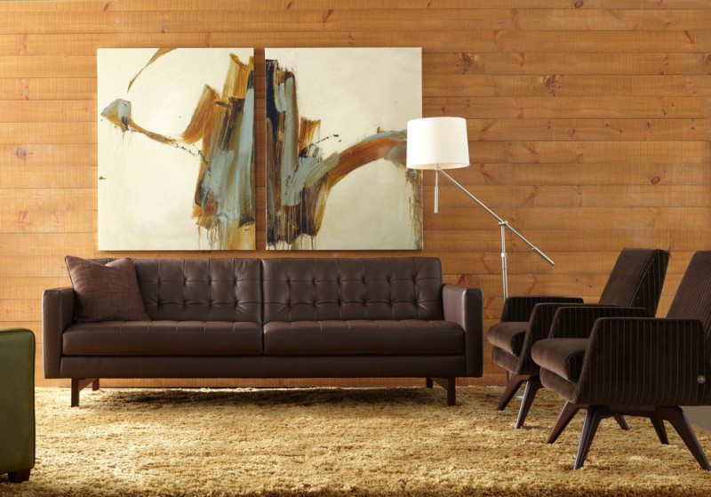 Mid Century Living Room With Modern Appeal Dark Brown Leather Sofa With  Tuftings A Pair Of Part 82