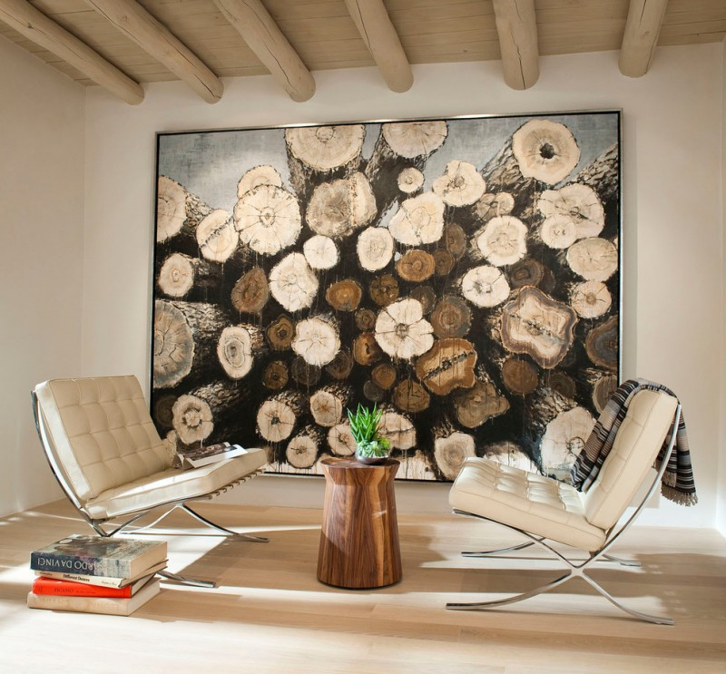 mid century modern living room idea white chairs with tufted upholstery and x base stainless steel base maple floors large logs painting with thin black frame ceilings withe exposed beams