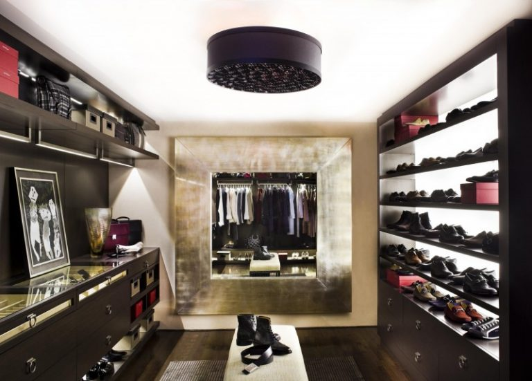 Mirrored Closet Shoe Racks Open Shelves Dark Cabinet Bench Holder Built In Ceiling
