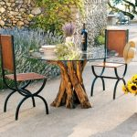 Outdoor Dining Set Consisting Of Industrial Dining Chairs Tree Trunk Base Dining Table With Round Glass Top