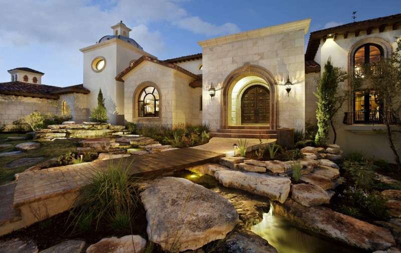 rock garden aquatic garden wooden bridge garden lightning arched doorway arched window wall lanterns stone wall roof tiles