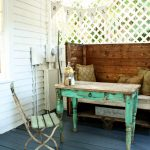 Shabby Chic Porch Idea With Lattice And Rustic Decorations Old Table And Chair Dark Blue Wood Boards Floors