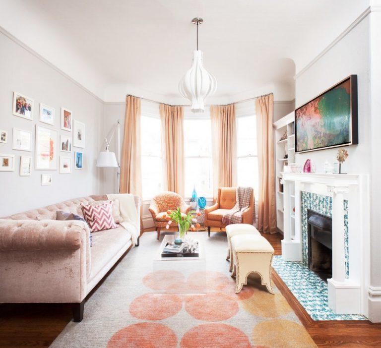 Amazing Small Living Room With Orange Rug, Soft Orange Gordyn, Soft Orange Velvet  Sofa,