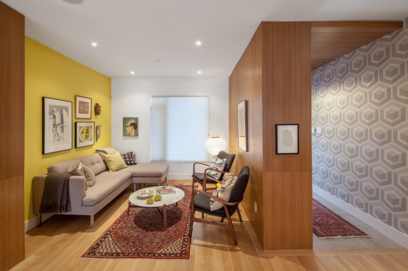 Small Livingroom With Wooden Wall, Yellow Wall, White Wall With Distorted  Glass Window,