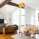 Small Mid Century Modern Living Room Orange Furniture Set Small Sized Area Rug In White Medium Toned Wood Floors Wood Console Grey Sofa