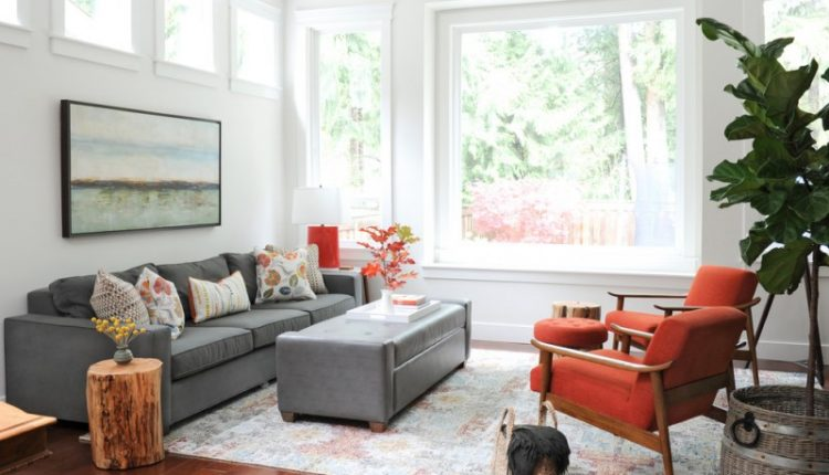 transitional living room grey sectional multicolored throw pillows grey ottoman coffee table tree trunk side tables with decorative pot on top red chairs with wood construction