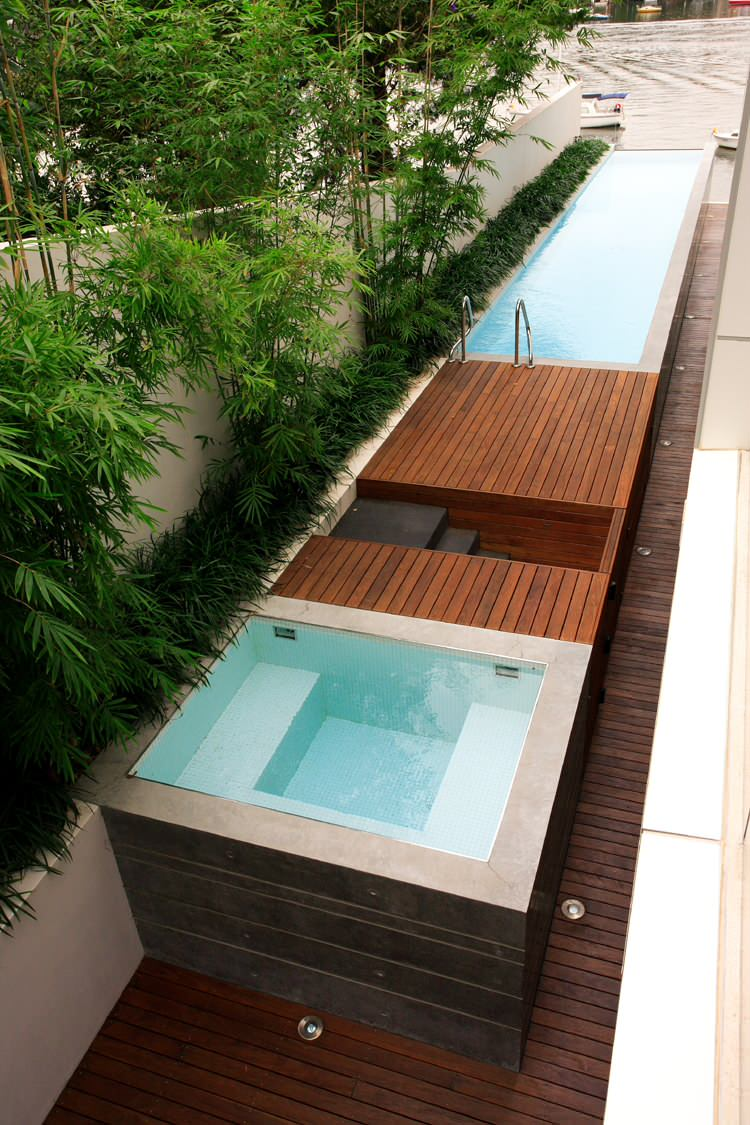 waterfront modern pool planters pool staircase side yard wooden deck