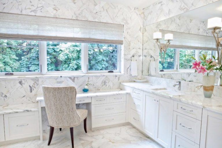 Shoving In Beautiful Make Up Station Inside Bathroom