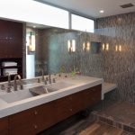 Large contemporary master mosaic tile, black tile, brown tile and gray tile porcelain floor alcove shower with flat panel cabinets, medium tone wood cabinets