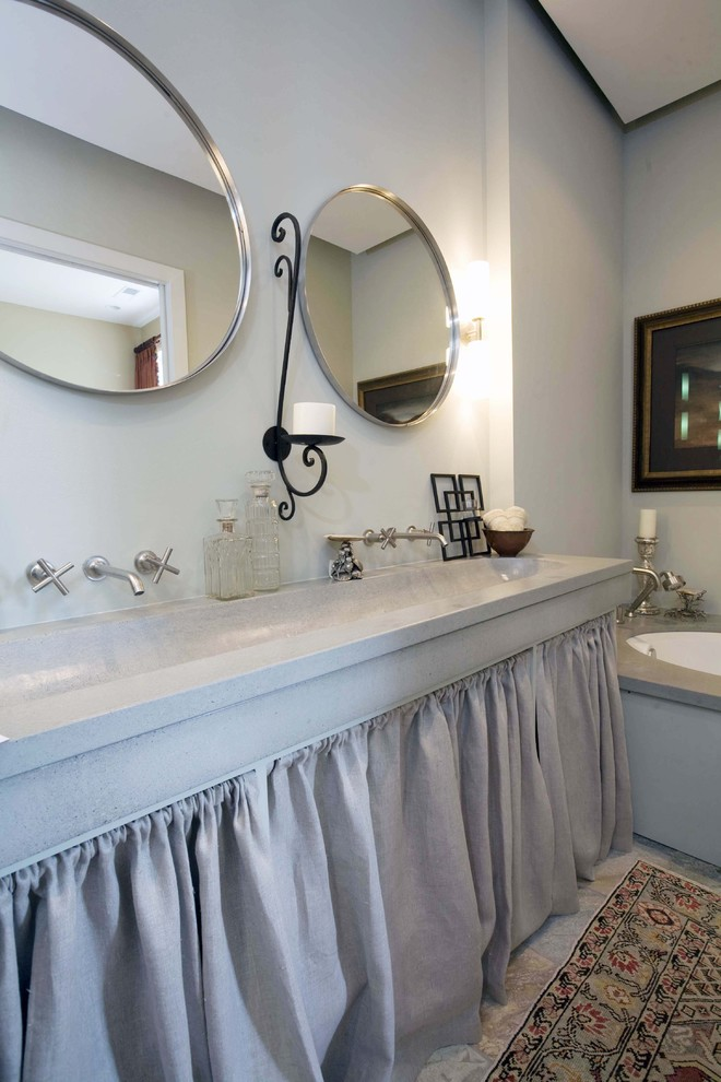 cement top trough sinks with curtain under