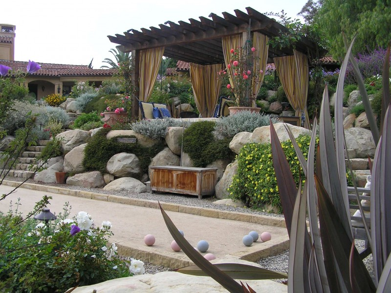 boulder garden balls planters flowers patio outdoor bench patio fabric pergola stone staircase garden lightnings