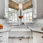 Corner Sink 1 Light Standard Bulb Large Pendant Kohler Deck Mount Kitchen Faucet Small Cabinet Window Shelf Window Shades Marble Countertop Mosaic Backsplash