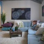 Floor Couch Cream Area Rug Blue Seat Cushions Justin Bieber Pillow Low Coffee Table Pillows Fluffy Rug Vaulted Ceiling Artwork Painting