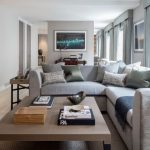 Grey Sofa Half Silver Wall Paint From Zoffany Plain Pillows Beige Rug Beige Table With Black Legs Grey Curtains Beige Side Tables